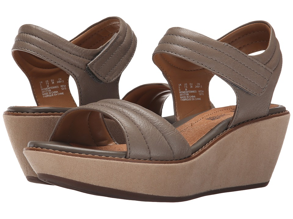 Clarks - Hazelle Alba (Sage Leather) Women's Wedge Shoes