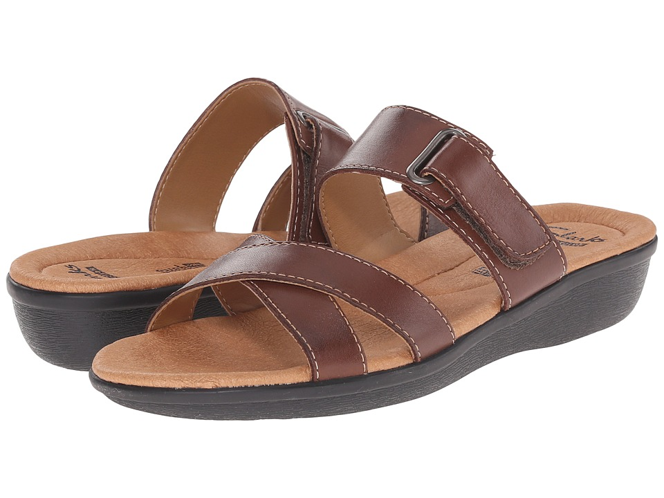 Clarks - Manilla Pluma (Brown Leather) Women's Sandals