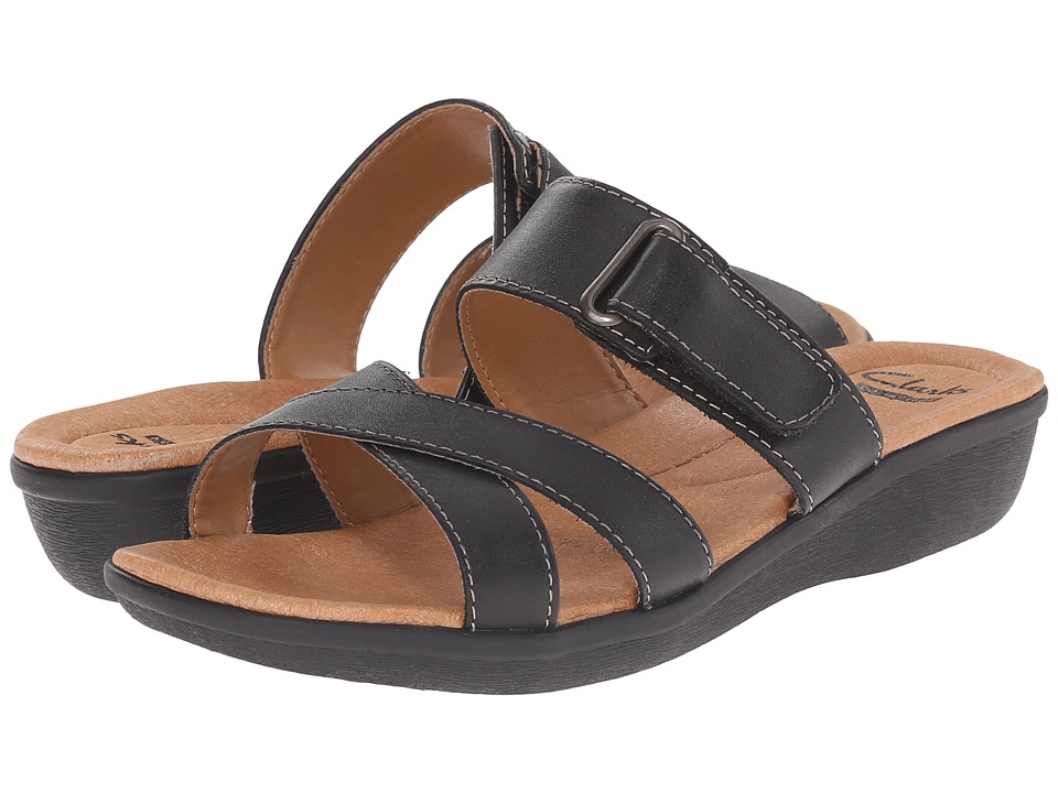 Clarks - Manilla Pluma (Black Leather) Women's Sandals