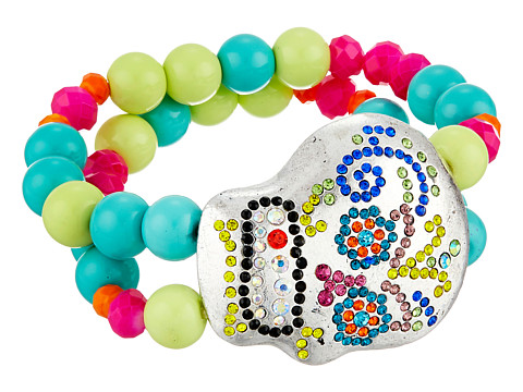 Gypsy SOULE - Bejeweled Sugar Skull Stretch Bracelet (Silver/Multicolor) Bracelet