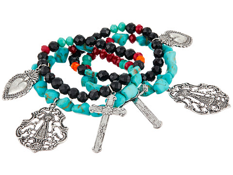 Gypsy SOULE - Heart Cross Set of 4 Stretch Bracelets (Black/Red/Turquoise) Bracelet