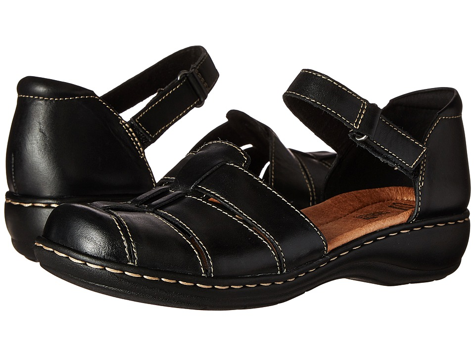 Clarks - Leisa Wave (Black Leather) Women's Sandals