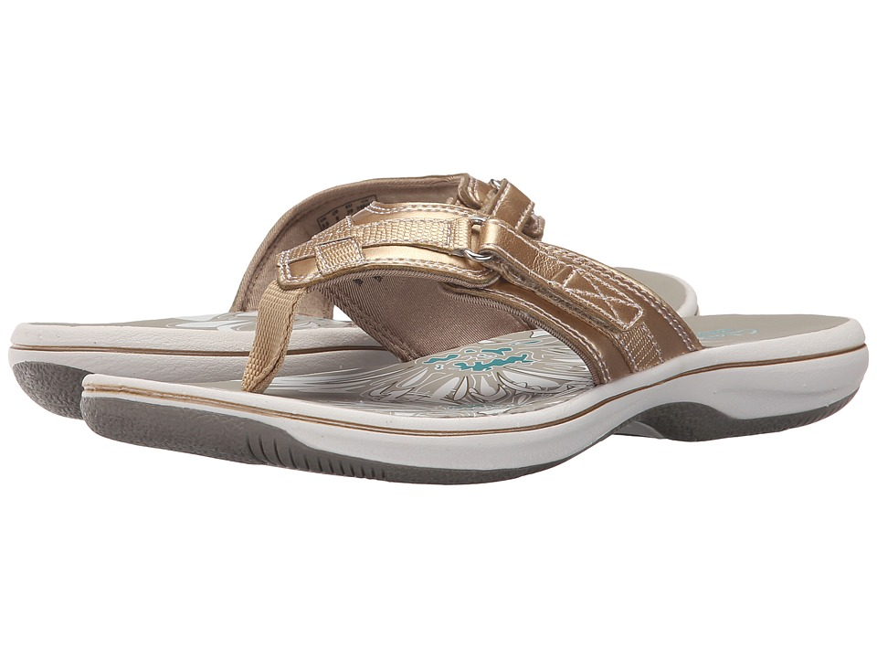 Clarks - Breeze Sea (Gold Metallic Synthetic) Women
