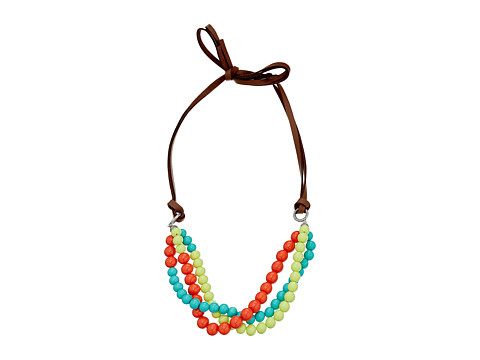 Gypsy SOULE - Leather Bead Necklace (Turquoise/Lime/Orange) Necklace