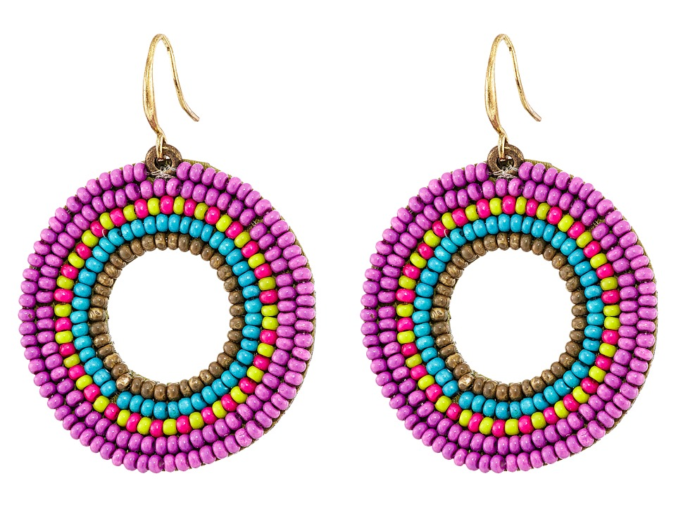 Gypsy SOULE - Seed Bead Circle Drop Earrings (Purple) Earring