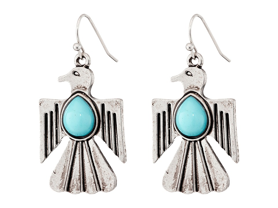 Gypsy SOULE - Thunderbird Drop Earrings (Silver/Turquoise) Earring