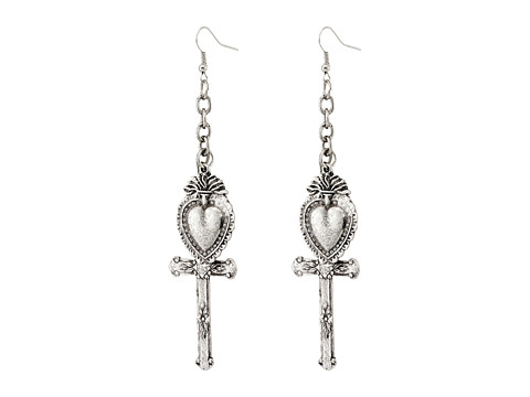 Gypsy SOULE - Heart Cross Drop Earrings (Silver) Earring