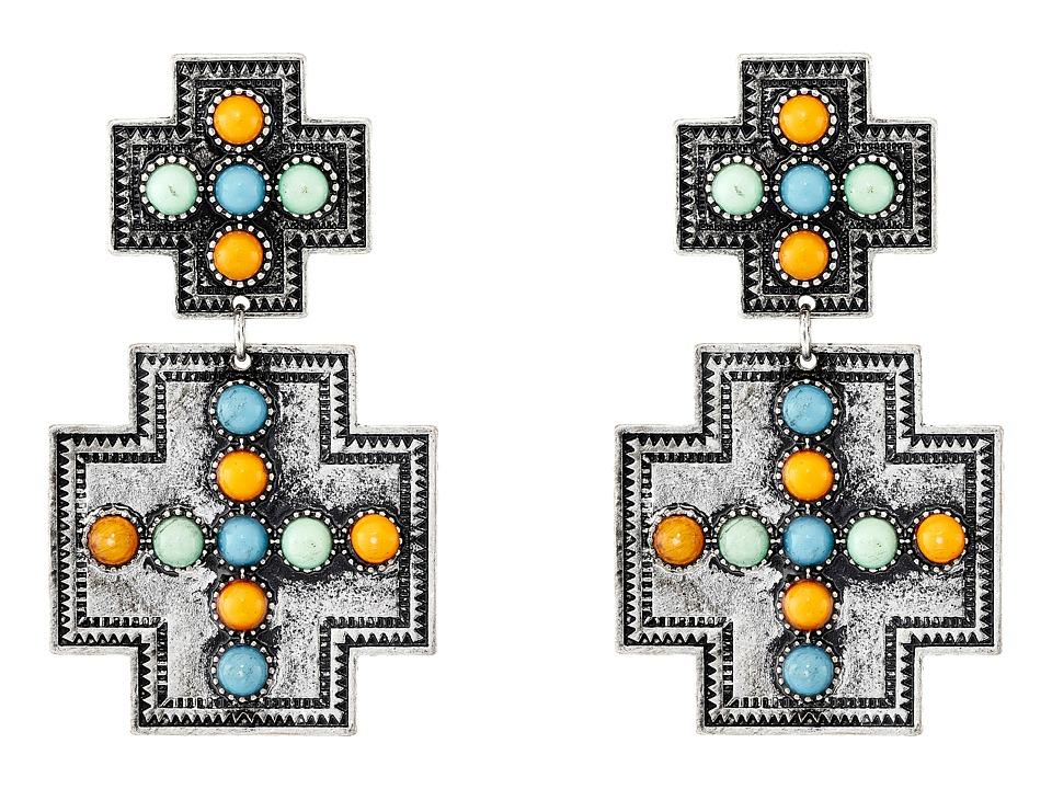 Gypsy SOULE - Square Cross w/ Stones Earrings (Silver/Multicolor) Earring