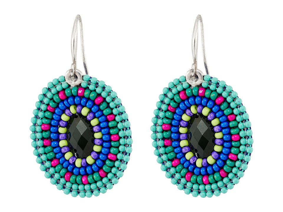 Gypsy SOULE - Seed Bead Oval Drop Earrings (Turquoise/Blue) Earring