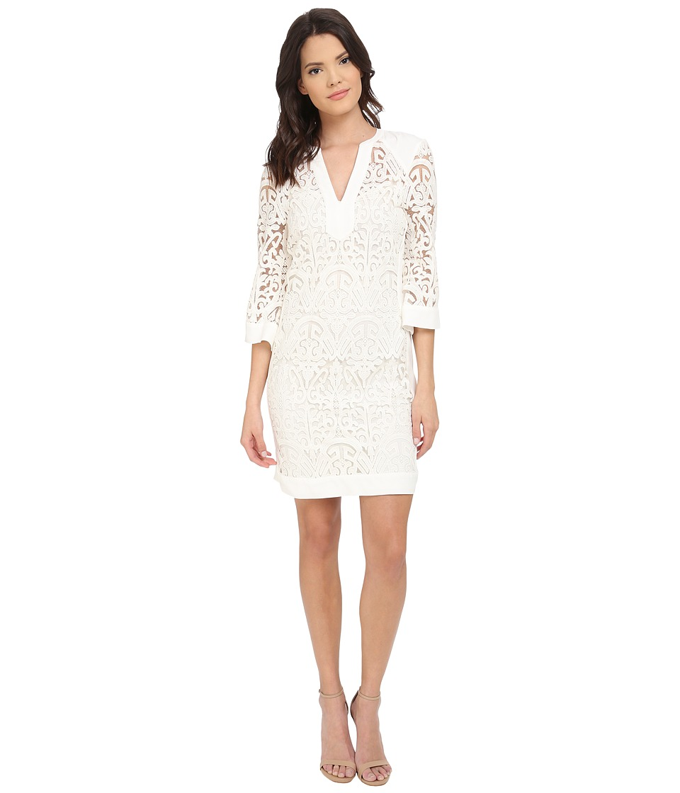 Hale Bob - Thrills and Frills Embroidered Mesh Dress (Ivory) Women's Dress