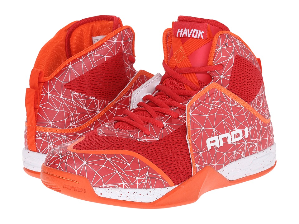 AND1 - Havok (Red/Fiery Red/Tiger Lily) Men's Basketball Shoes