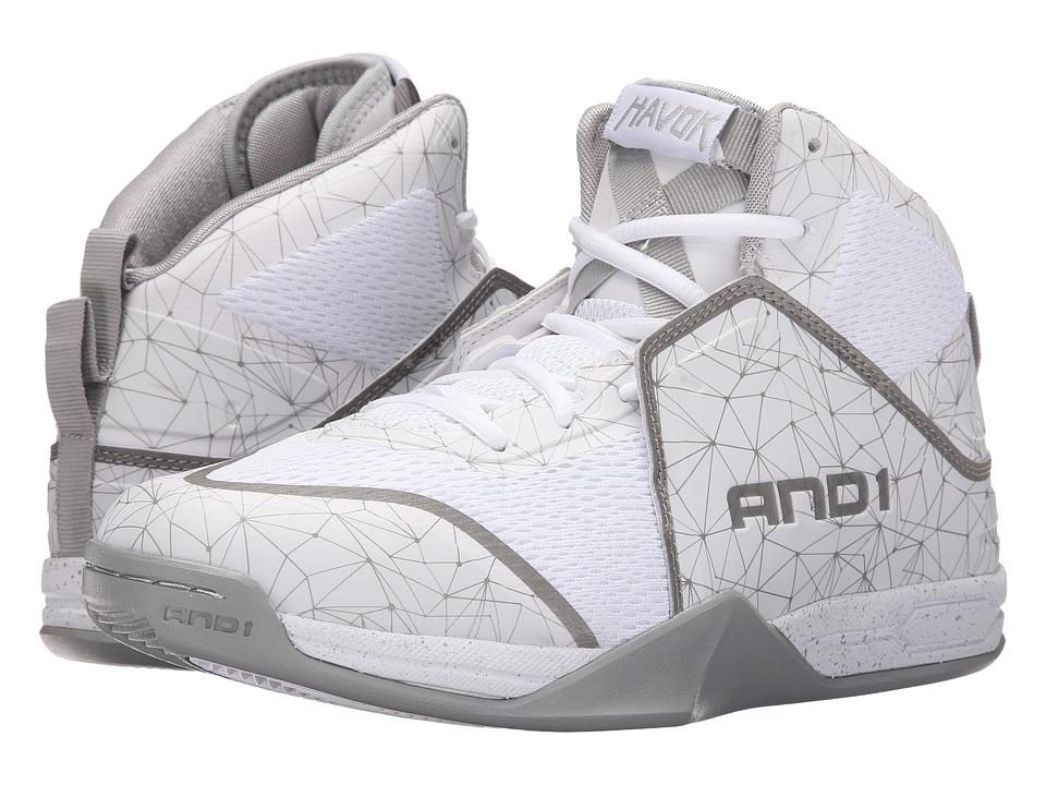 AND1 - Havok (Bright White/Bright White/Silver) Men's Basketball Shoes