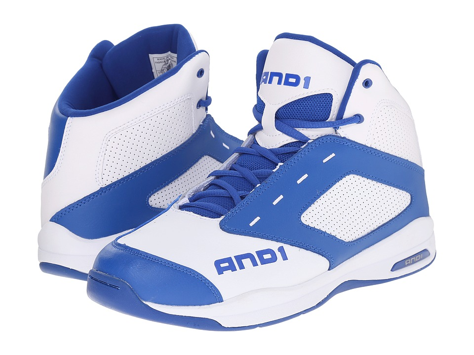 AND1 - Typhoon (Bright White/Royal/Bright White) Men's Basketball Shoes