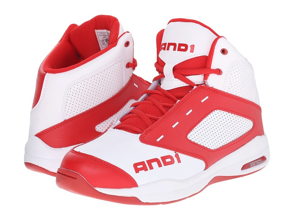AND1 - Typhoon (Bright White/Red/Bright White) Men's Basketball Shoes