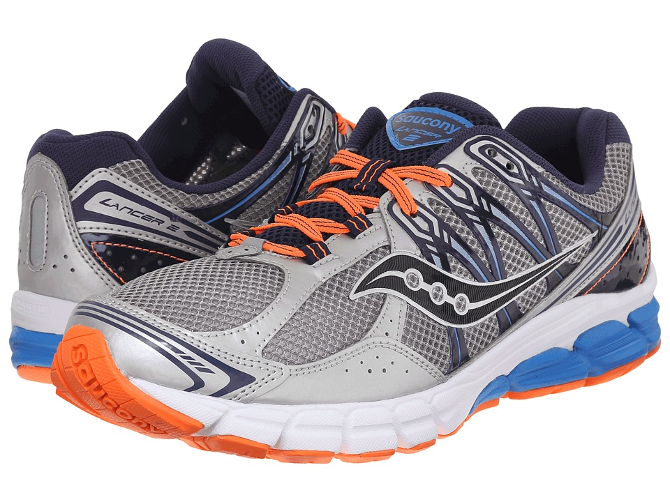 Saucony - Lancer 2 (Silver/Navy/Orange) Men's Running Shoes