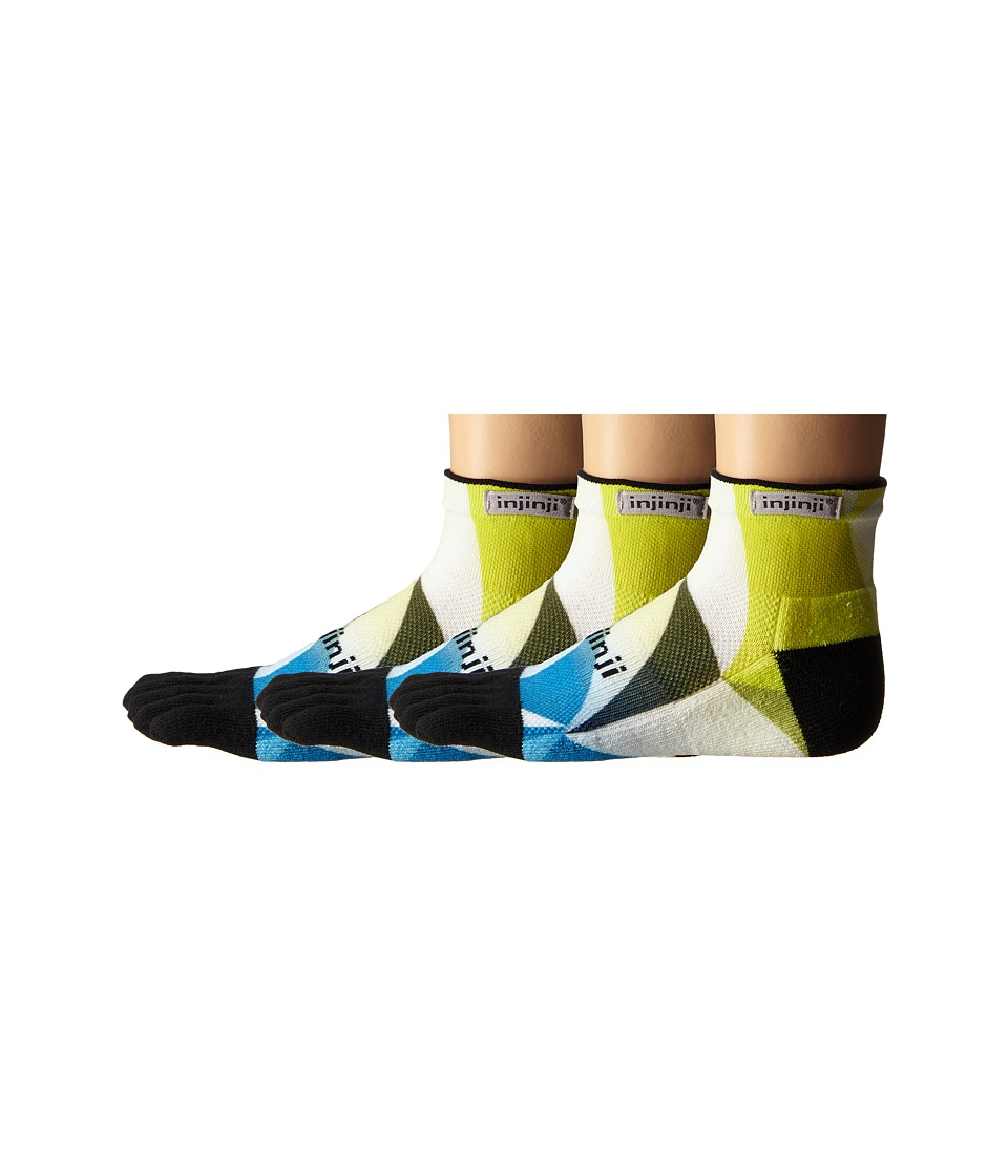 Injinji - Run Midweight Mini Crew 3-Pack (Geo Lime/Blue) Crew Cut Socks Shoes
