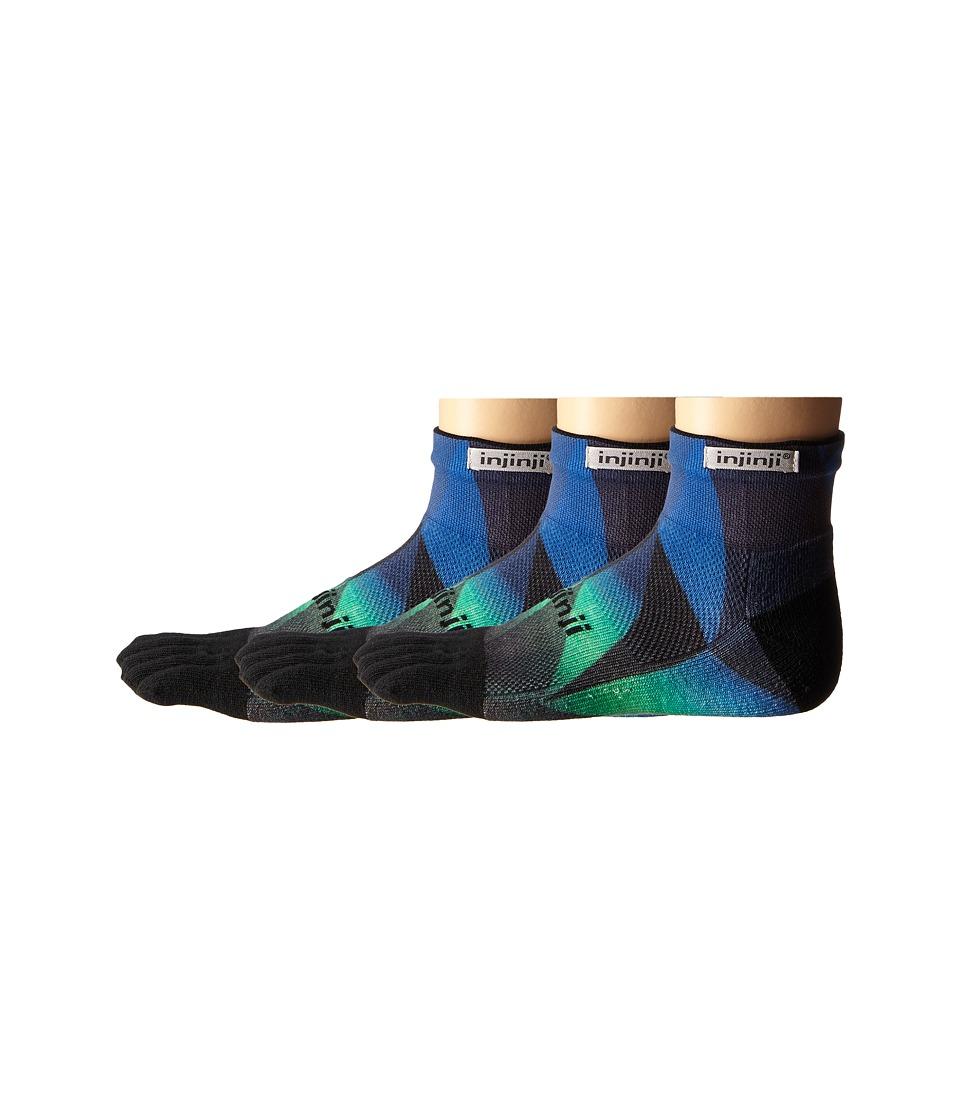 Injinji - Run Midweight Mini Crew 3-Pack (Geo Blue/Green) Crew Cut Socks Shoes