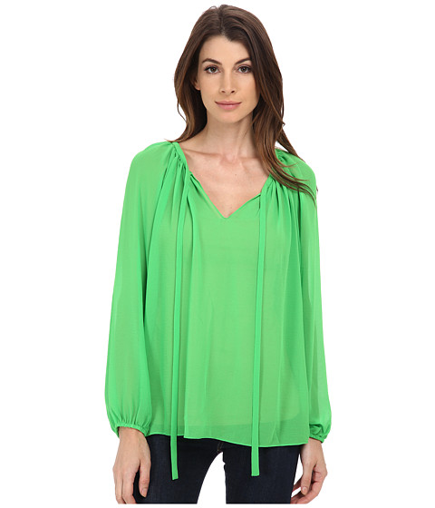 Vince Camuto - Long Sleeve Peasant Blouse (Classic Green) Women's Blouse