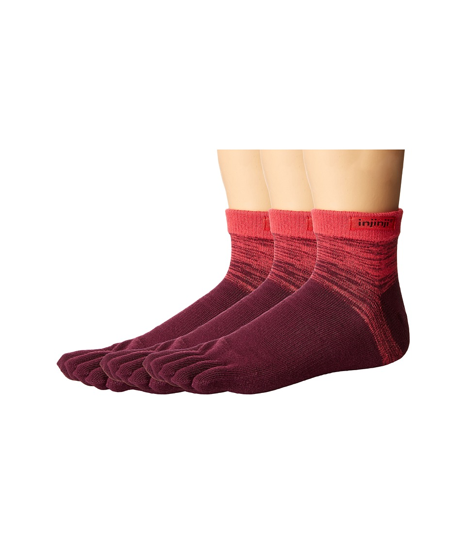 Injinji - Sport Original Weight Micro 3-Pack (Pomegranate) No Show Socks Shoes