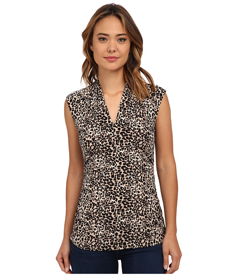 Vince Camuto - Short Sleeve Tribal Leopard Print Top (Rich Black) Women