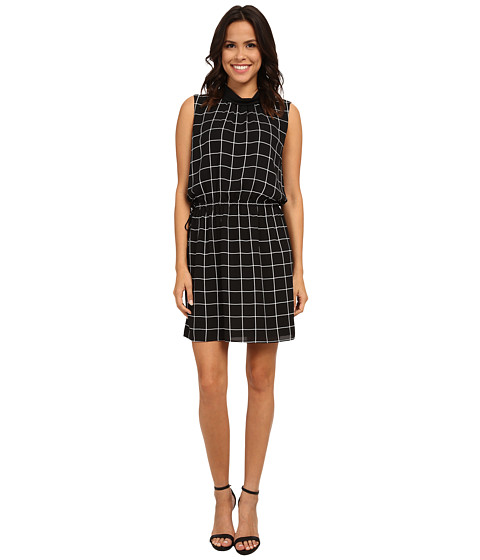 Vince Camuto - Short Sleeve Windowpane Mock Neck Dress (Rich Black) Women
