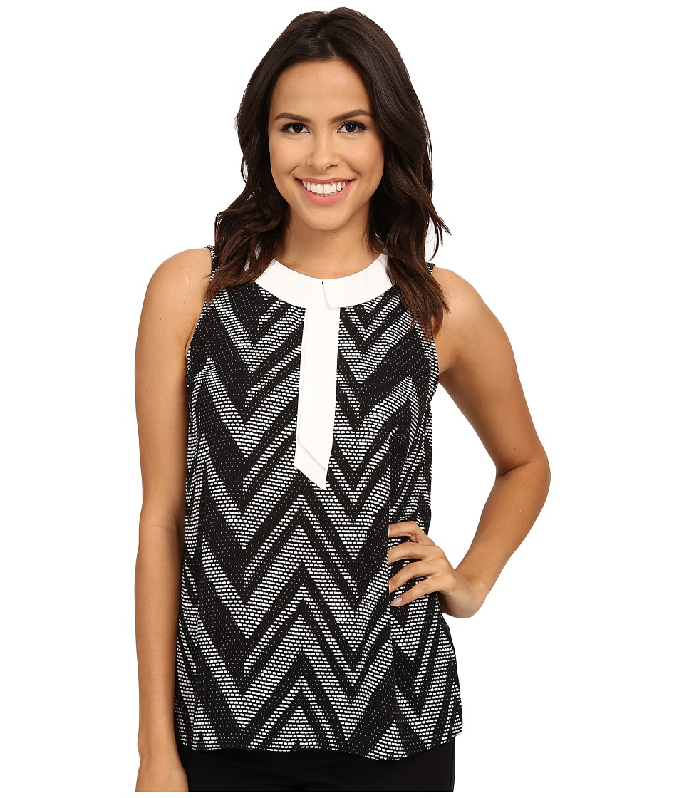 Vince Camuto - Sleeveless Graphic Wave Top (Rich Black) Women's Blouse