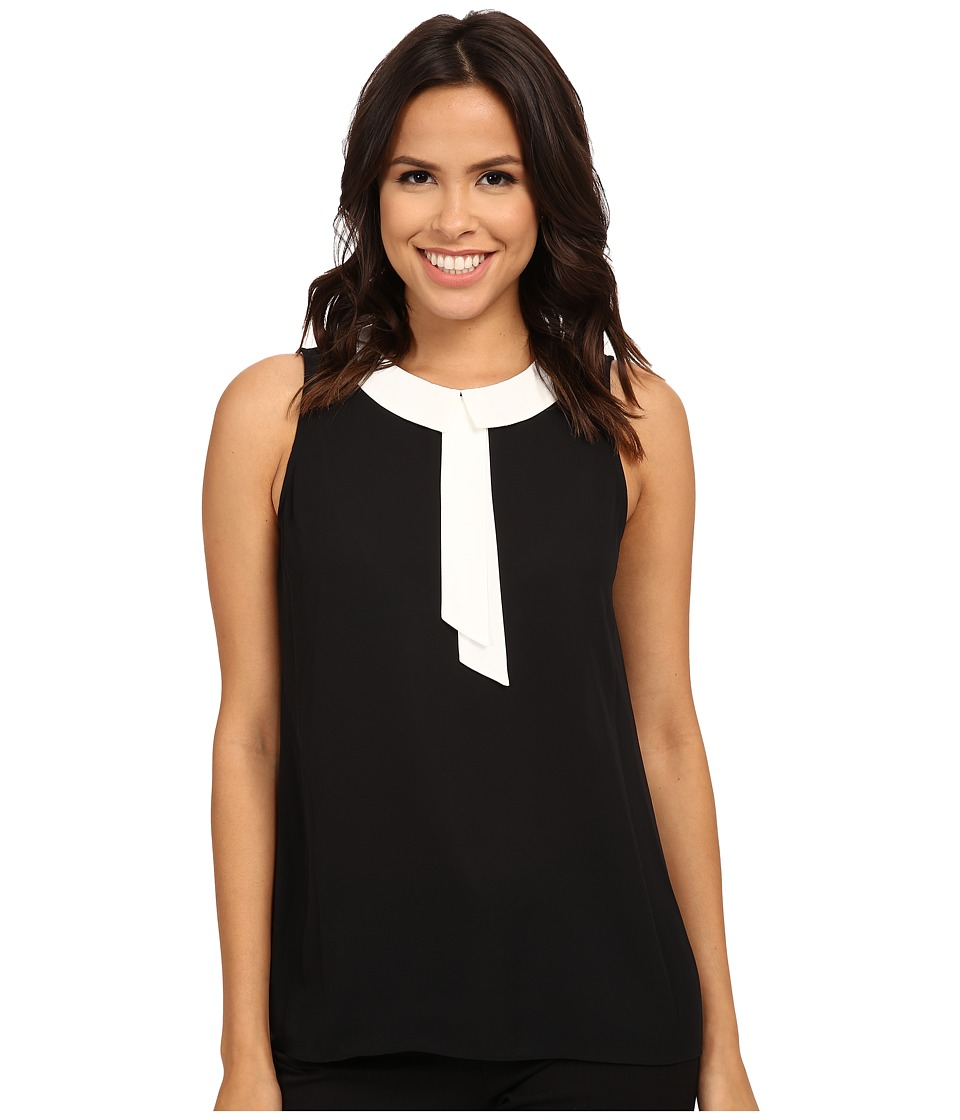 Vince Camuto - Sleeveless Collared Blouse (Rich Black) Women