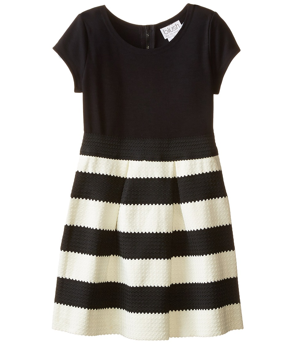 Us Angels - Ponte Novelty Elastic Cap Sleeve w/ Full Skirt (Big Kids) (Black) Girl's Dress