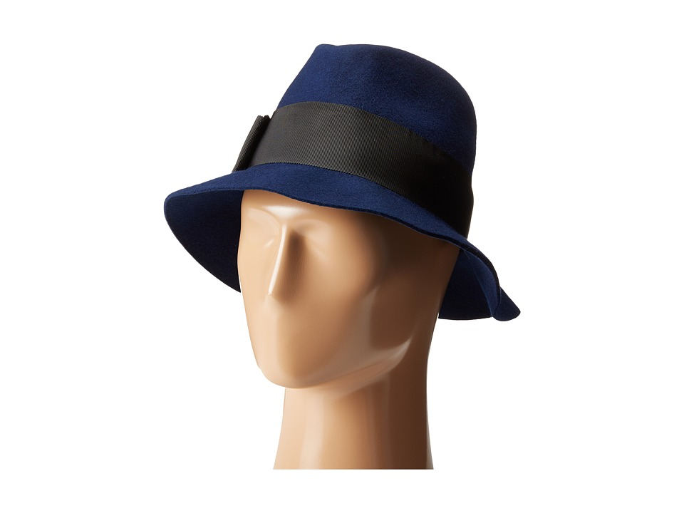 Kate Spade New York - Classic Fedora with Grosgrain Tab Bow (Navy) Fedora Hats