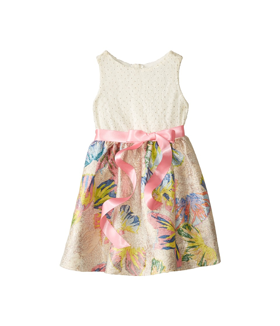 Us Angels - Butterfly Brocade Tank Dress w/ Ribbon Belt Full Skirt (Toddler) (Multi) Girl