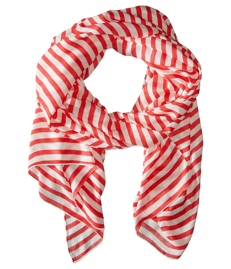 Kate Spade New York - Winter Painterly Strip Oblong Scarf (Geranium) Scarves