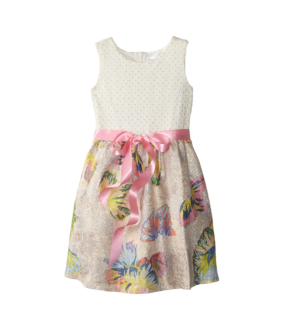 Us Angels - Butterfly Brocade Tank Dress w/ Ribbon Belt Full Skirt (Little Kids) (Multi) Girl