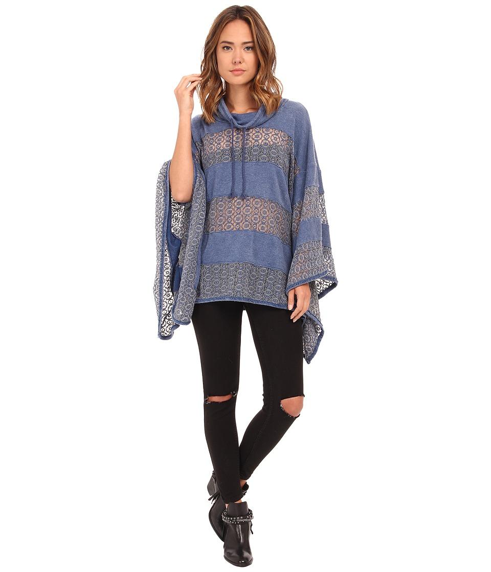 Free People - Hot Mama Poncho (Denim Blue) Women's Clothing