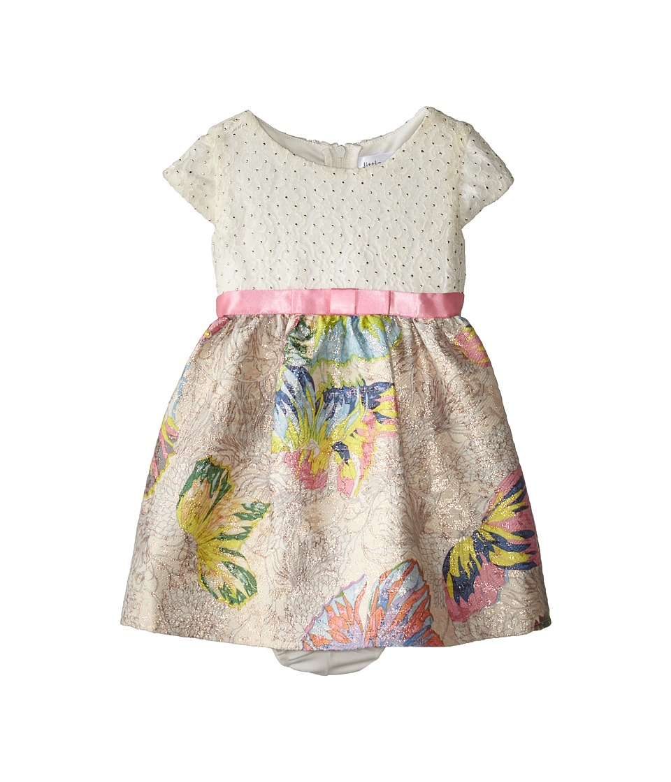 Us Angels - Brocade Butterfly Cap Sleeve w/ Bow Belt (Infant) (Multi) Girl