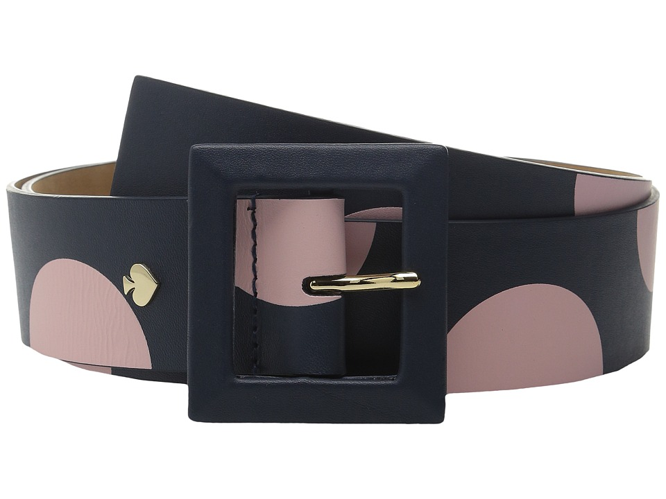 Kate Spade New York - Nappa Screen Printed Two-Tone Dot Belt (Rich Navy/Pastry Pink) Women's Belts