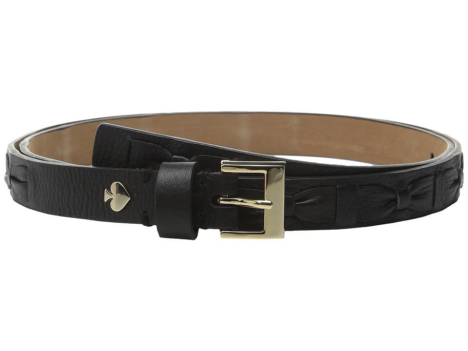 Kate Spade New York - Shrunken Panel Belt with Woven Bow (Black/Gold) Women's Belts