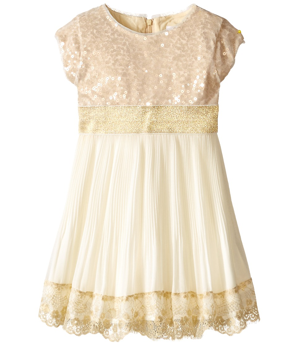 Us Angels - Sequin Chiffon Cap Sleeve w/ Tie Belt Pleated Full Skirt (Toddler) (Gold) Girl's Dress