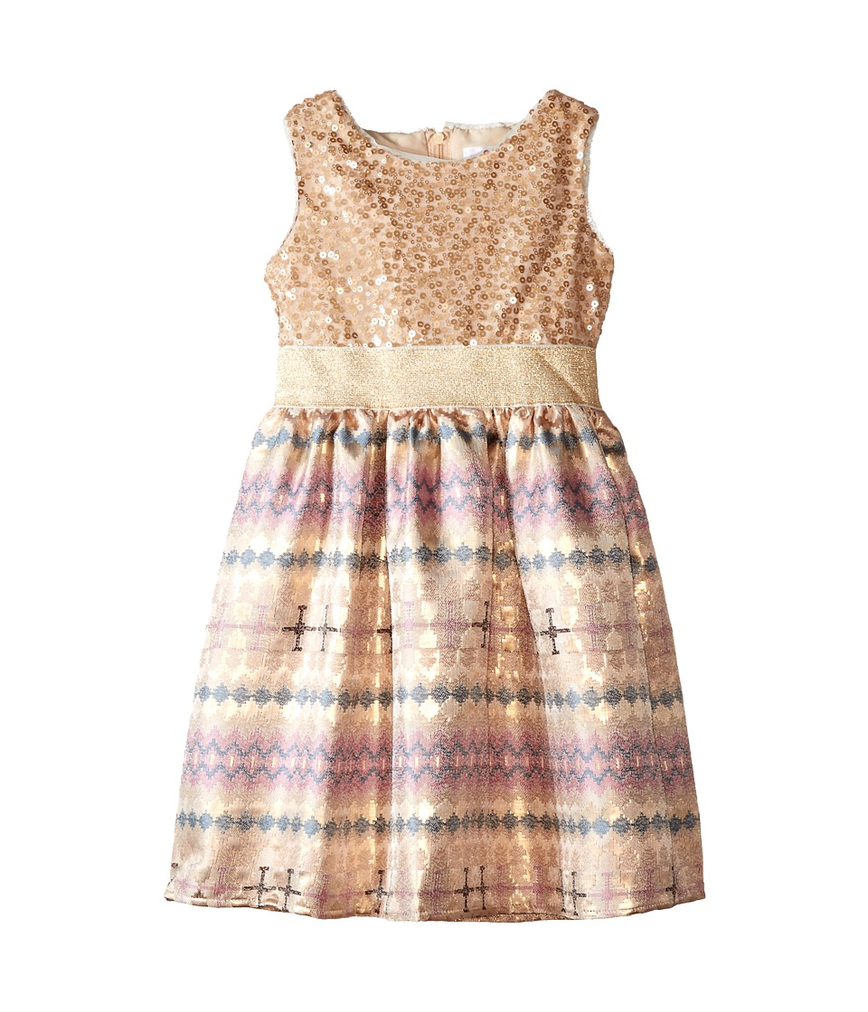 Us Angels - Sequin Aztec Brocade Tank Dress w/ Full Skirt (Little Kids) (Gold) Girl's Dress