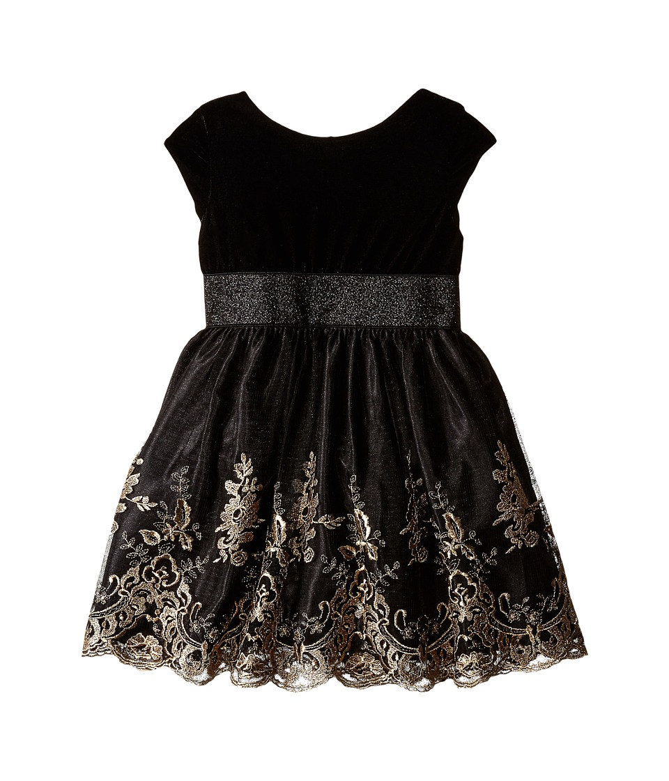 Us Angels - Velvet w/ Embroidery Netting Cap Sleeve w/ Full Skirt (Toddler) (Black) Girl's Dress