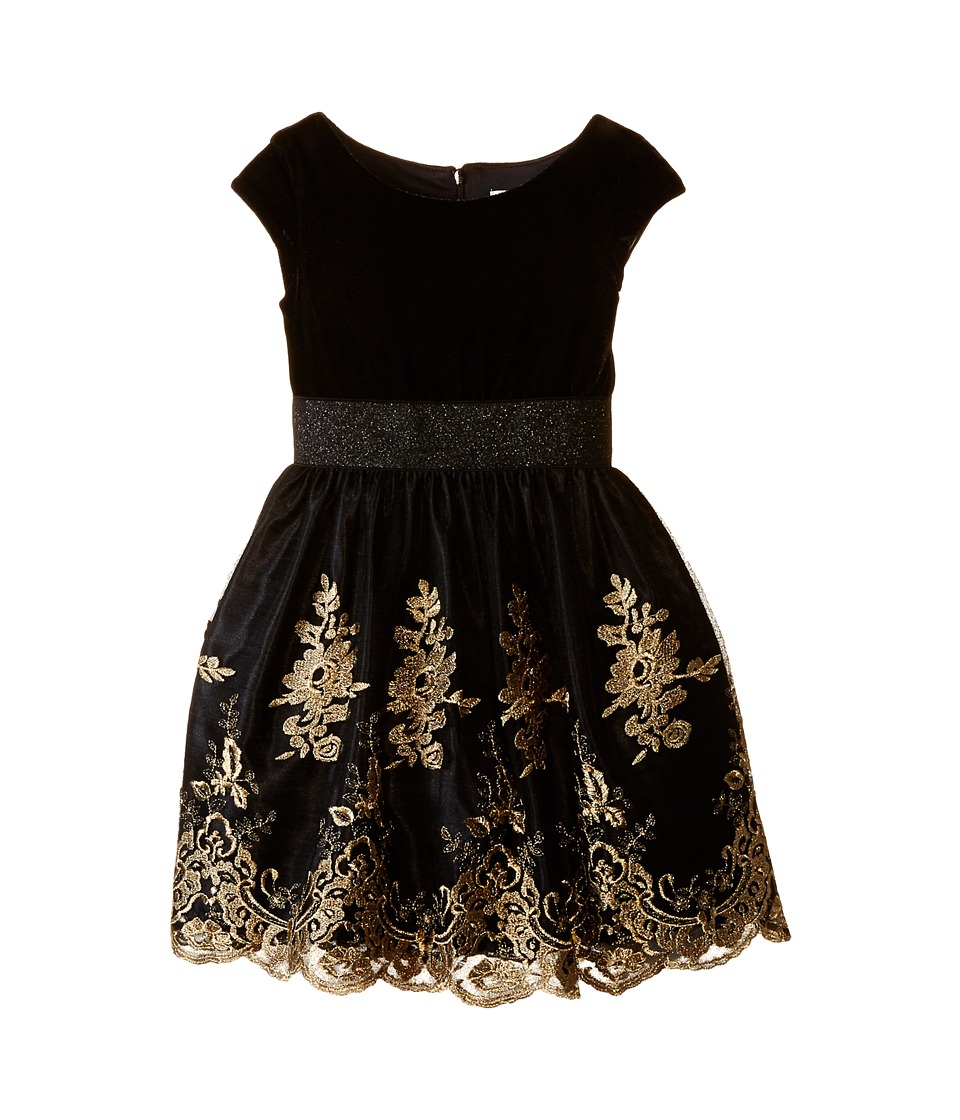 Us Angels - Velvet w/ Embroidery Netting Cap Sleeve w/ Full Skirt (Little Kids) (Black) Girl's Dress