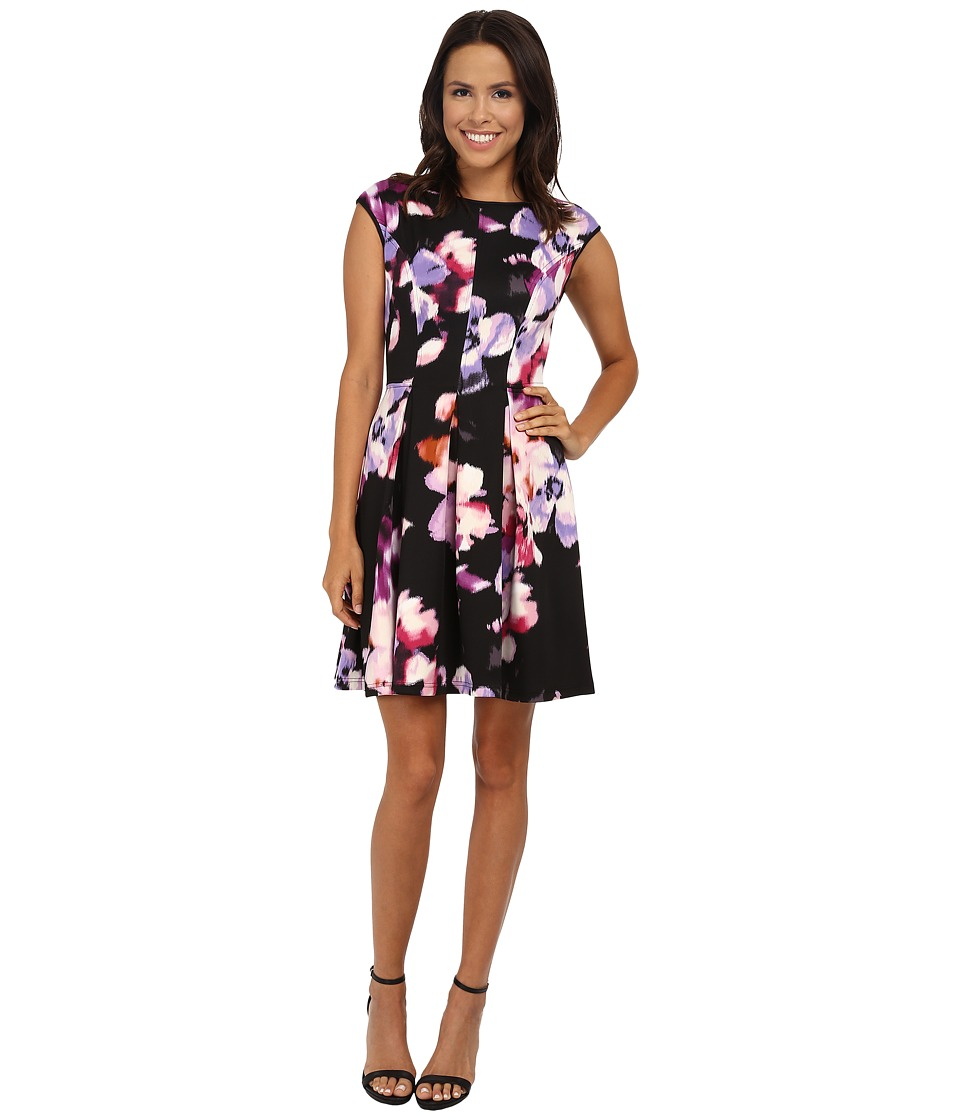 Maggy London - Smudge Blossom Printed Scuba Fit and Flare (Black/Periwinkle) Women's Dress