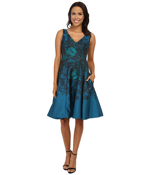 Maggy London - Teal Flower Jacquard Fit and Flare (Teal Combo) Women