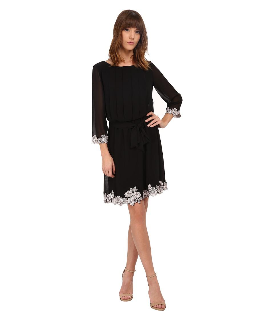 Jessica Simpson - Chiffon 3/4 Sleeve Lace Trim (Black) Women's Dress
