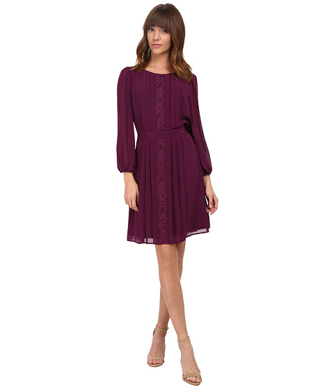 Jessica Simpson - 3/4 Sleeve Chiffon Dress (Dark Purple) Women's Dress