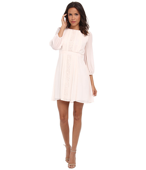 Jessica Simpson - 3/4 Sleeve Chiffon Dress (Cream) Women's Dress