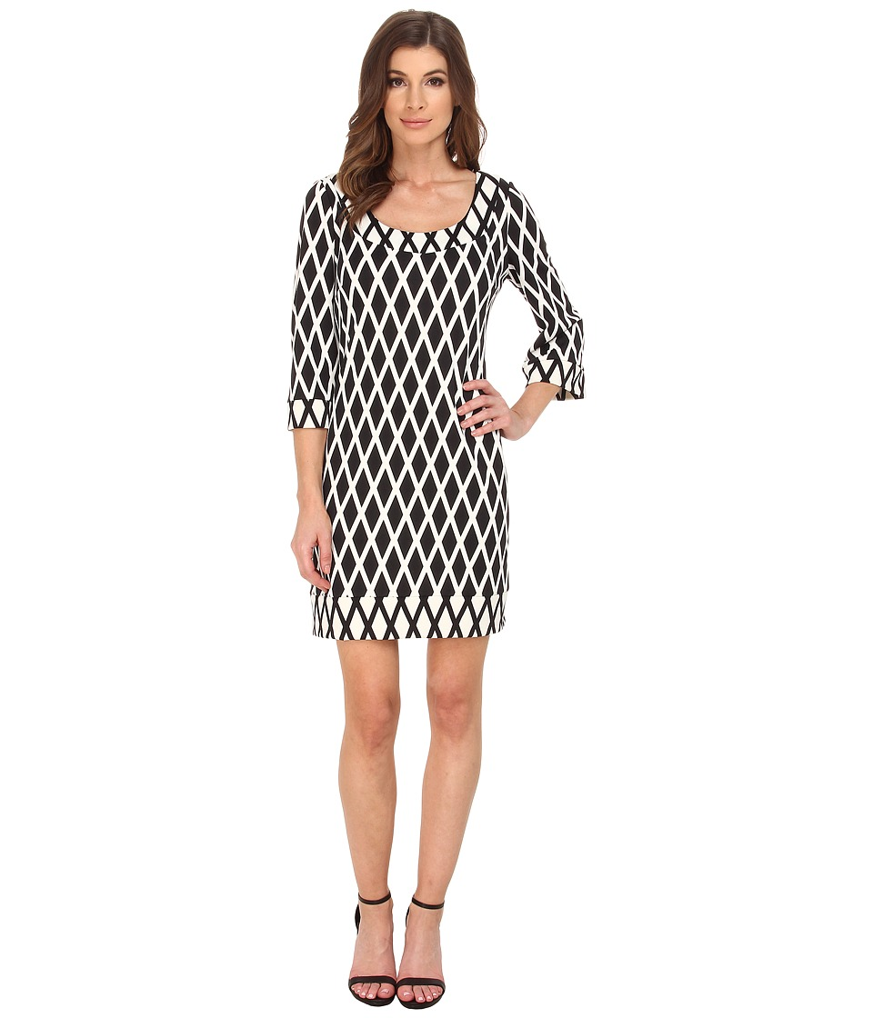 Jessica Simpson Printed Ponte Shift Dress JS5U6934 (Black/White) Women