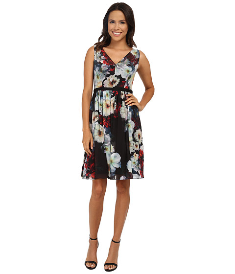 Maggy London - Printed Chiffon Autumn Floral Fit and Flare (Black/Red) Women's Dress