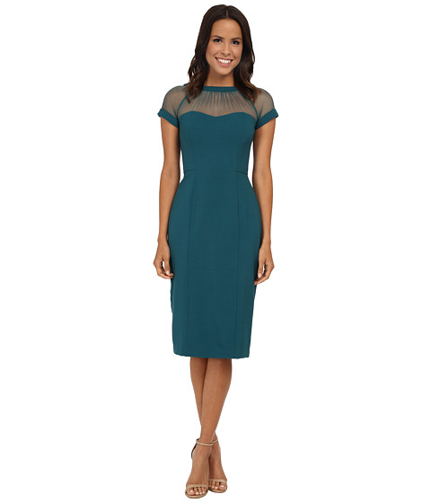 Maggy London - Illusion Top Crepe Dress (Harbor Teal) Women