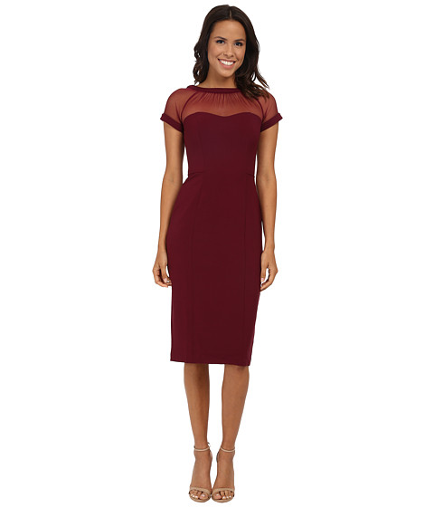 Maggy London - Illusion Top Crepe Dress (Vintage Wine) Women's Dress