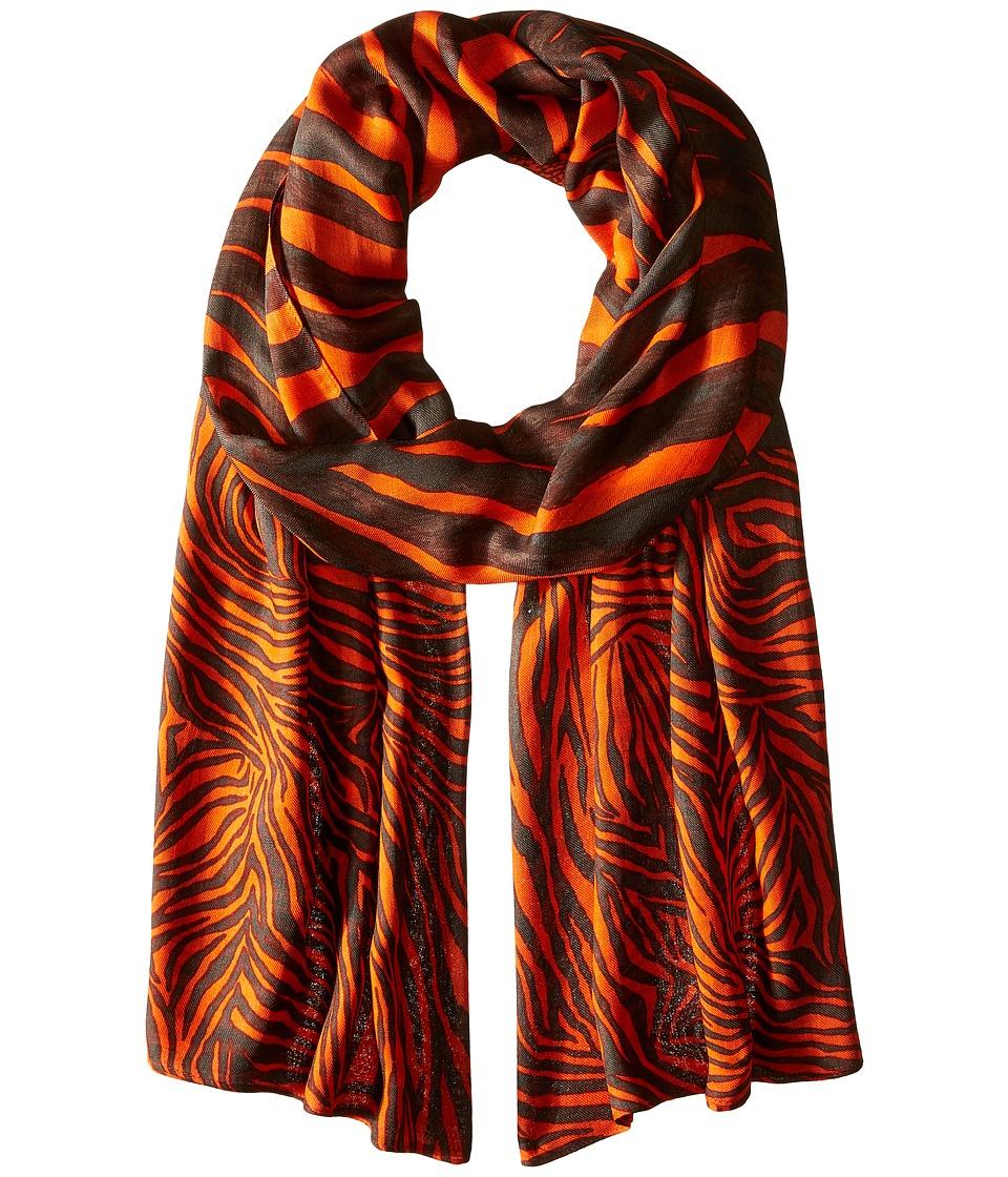 MICHAEL Michael Kors - Zahra Kendal Zebra Oblong (Mandarin/Chocolate) Scarves
